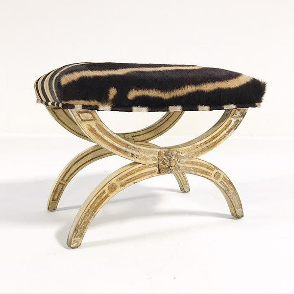 Antique Italian Regency Bench in Zebra Hide - FORSYTH