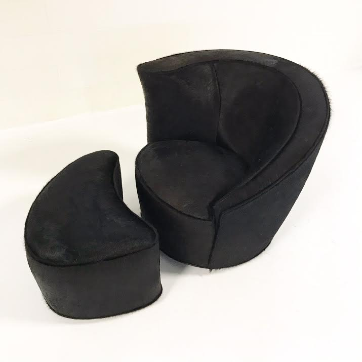 Vintage Vladimir Kagan Nautilus Chair and Ottoman in Natural Black Brazilian Cowhide - FORSYTH