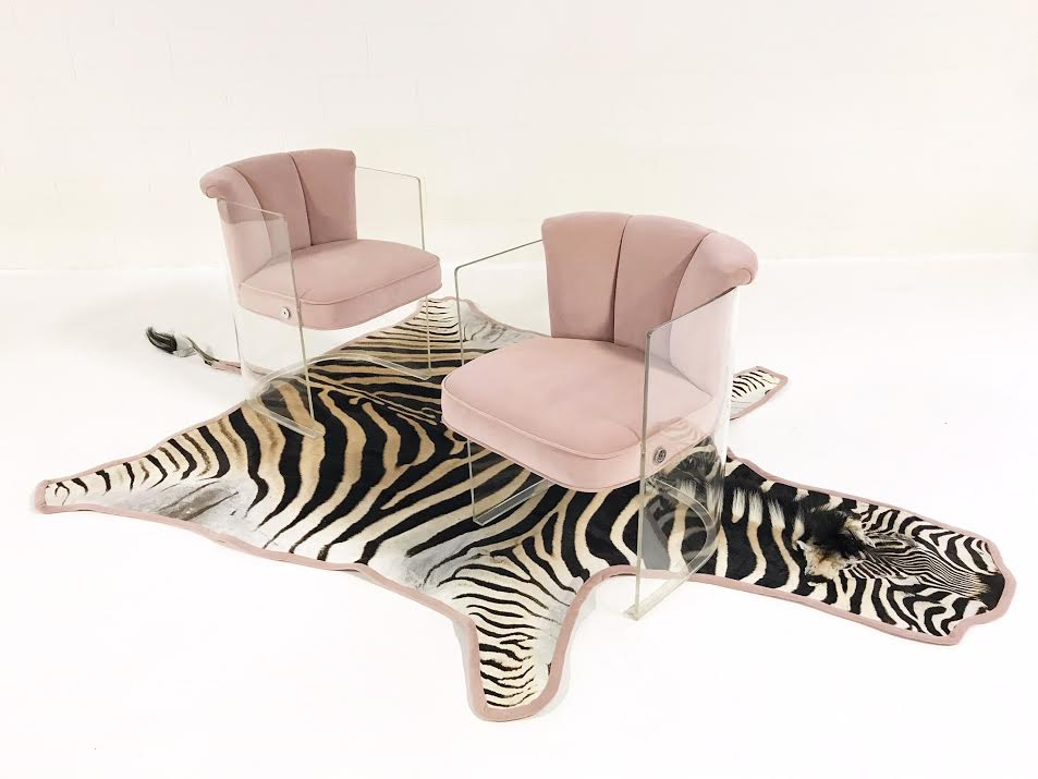 Armchairs Model 6700 in Velvet with Zebra Hide Rug - FORSYTH