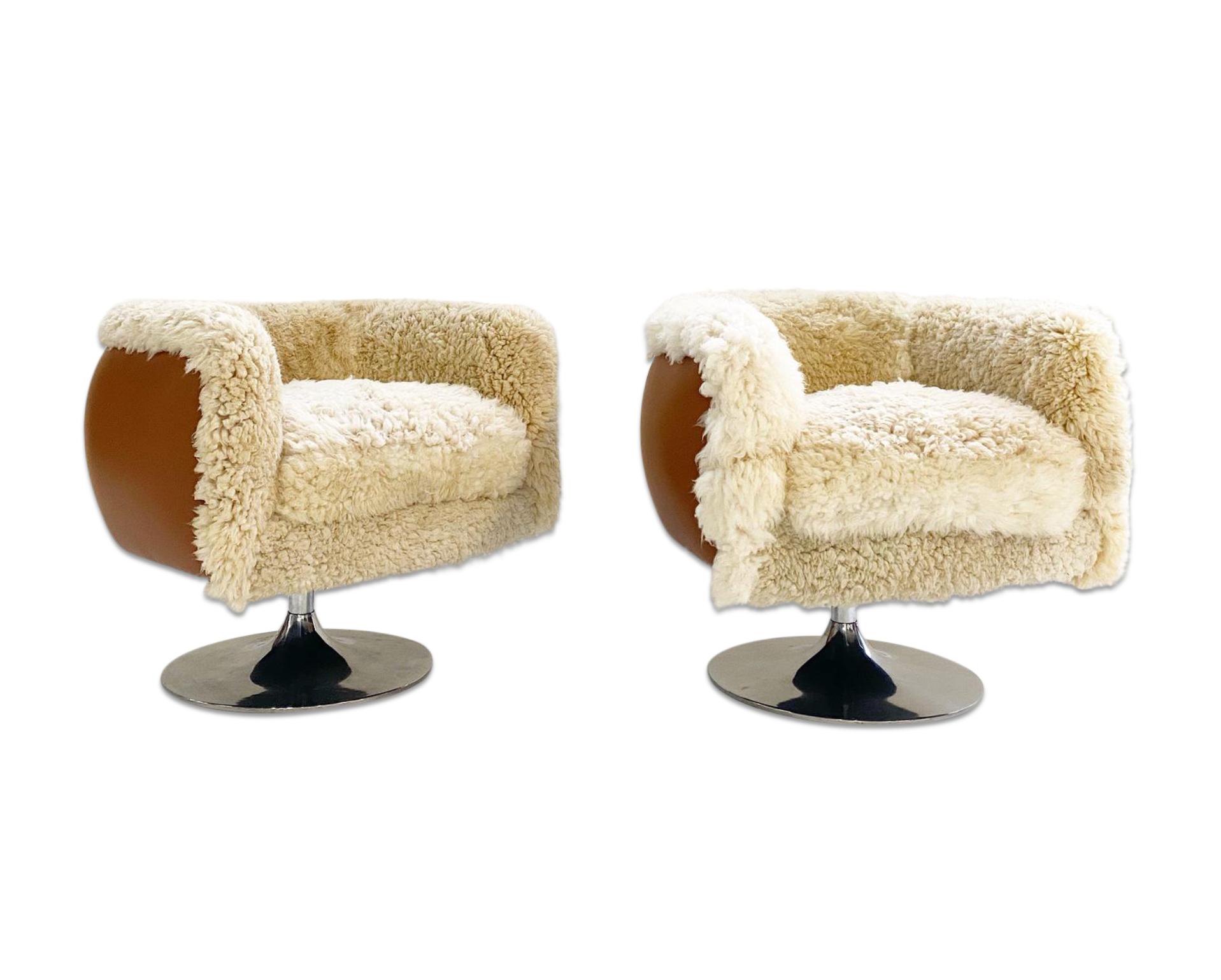 Swivel Lounge Chairs in California Sheepskin and Loro Piana Leather, pair