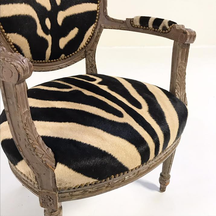 Louis XVI Style Armchair in Zebra Hide - FORSYTH