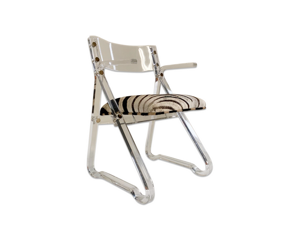 Lucite Desk Chair in Zebra Hide - FORSYTH