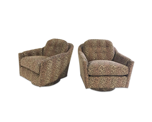 Lounge Chairs in Kravet Leopard Print Fabric, pair - FORSYTH