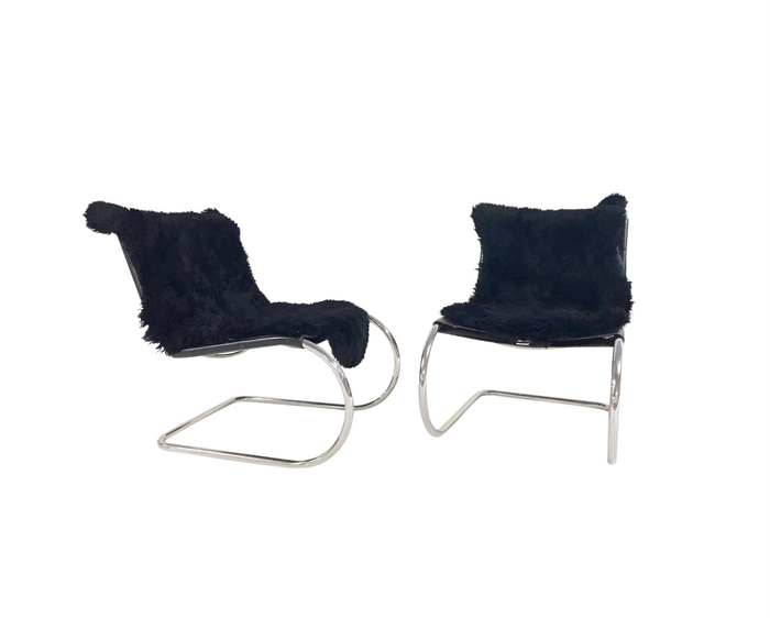 MR Chairs with Brazilian Sheepskins, pair - FORSYTH
