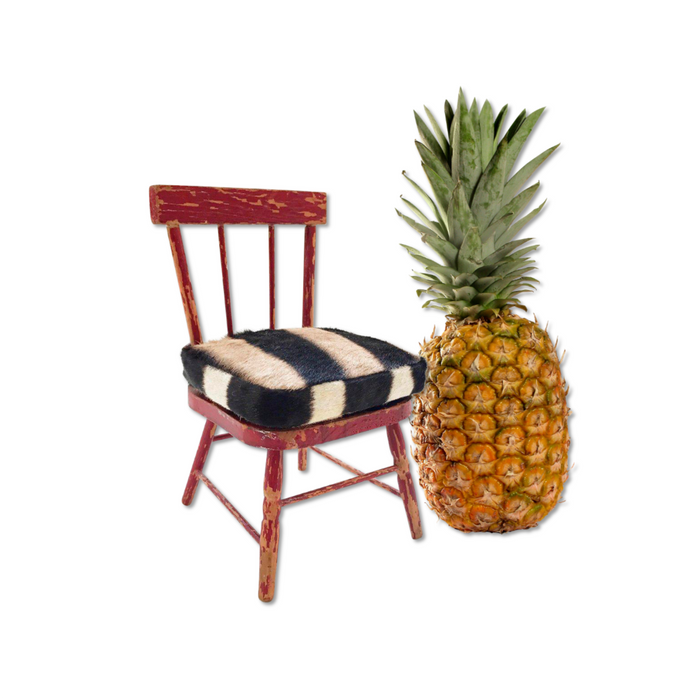 Mini Painted Red Chair with Zebra Hide Cushion