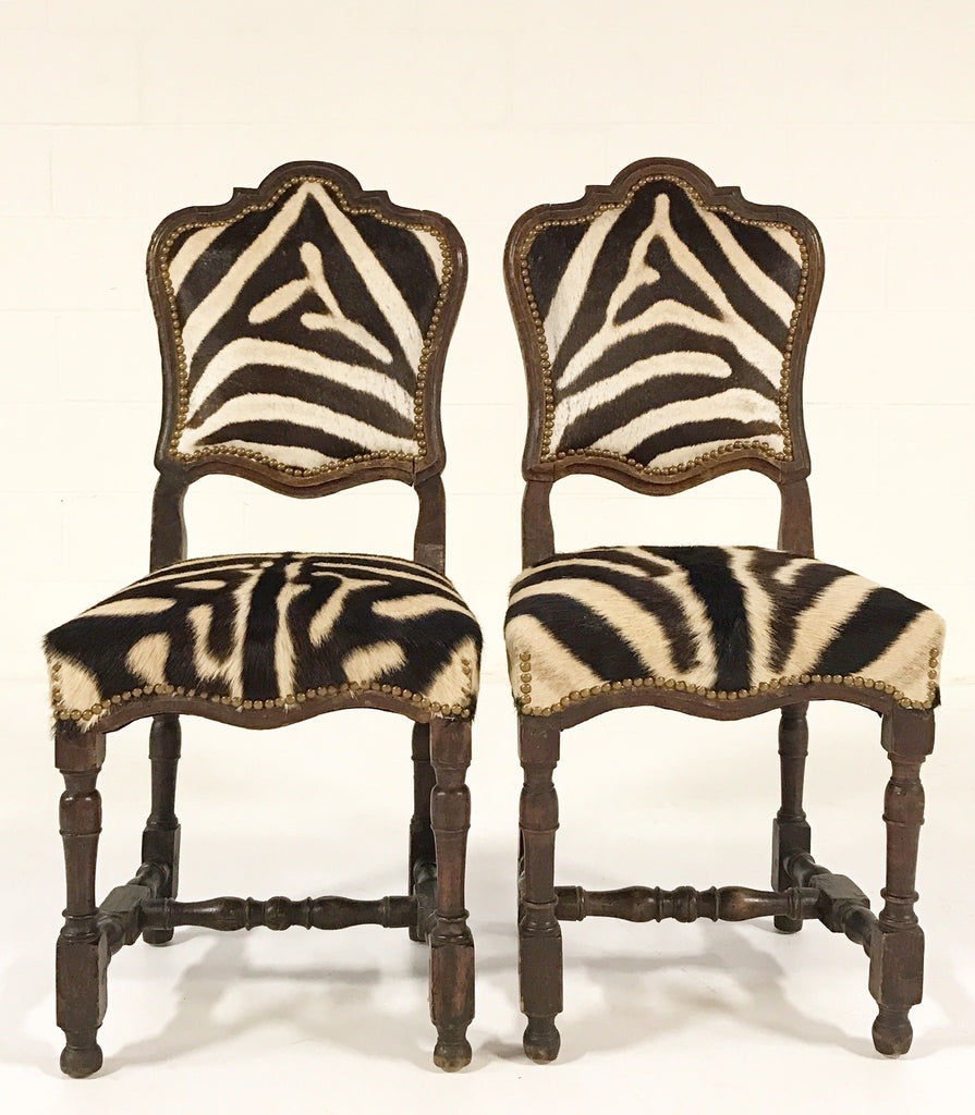 Pair of Vintage Wood Chairs from Portugal Upholstered in Zebra Hide - FORSYTH