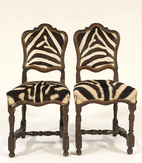 Side Chairs from Portugal in Zebra Hide, pair - FORSYTH