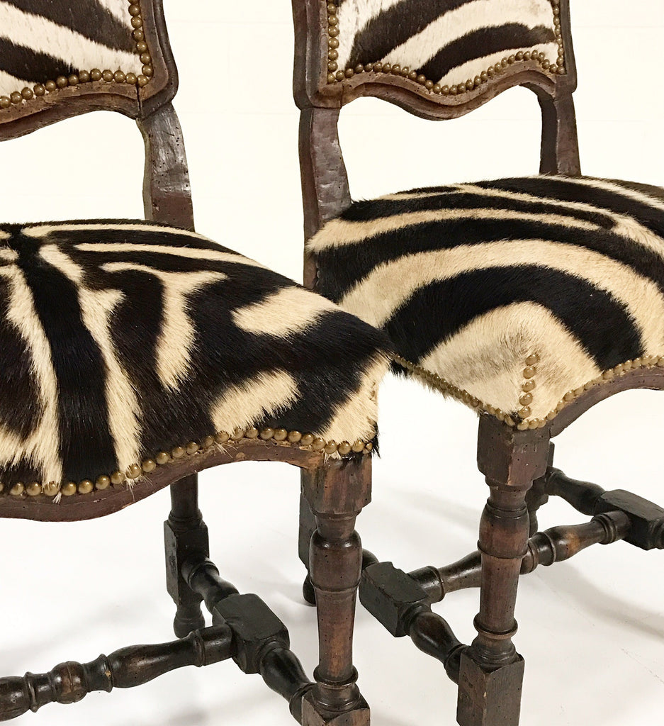 Vintage Wood Chairs From Portugal Upholstered In Zebra Hide  Pair   FORSYTH