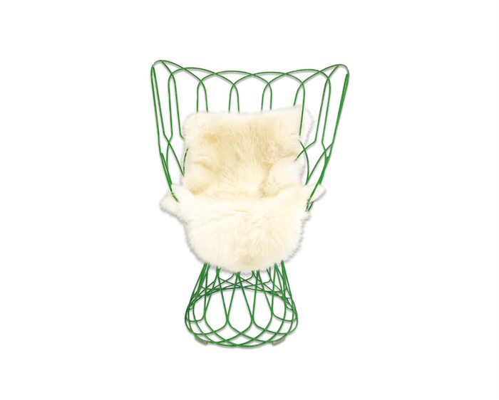 Patricia Urquiola Green Re-Trouve Highback Chair With New Zealand Sheepskin - FORSYTH