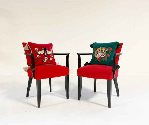 Armchairs in Loro Piana Velvet, Pair - FORSYTH