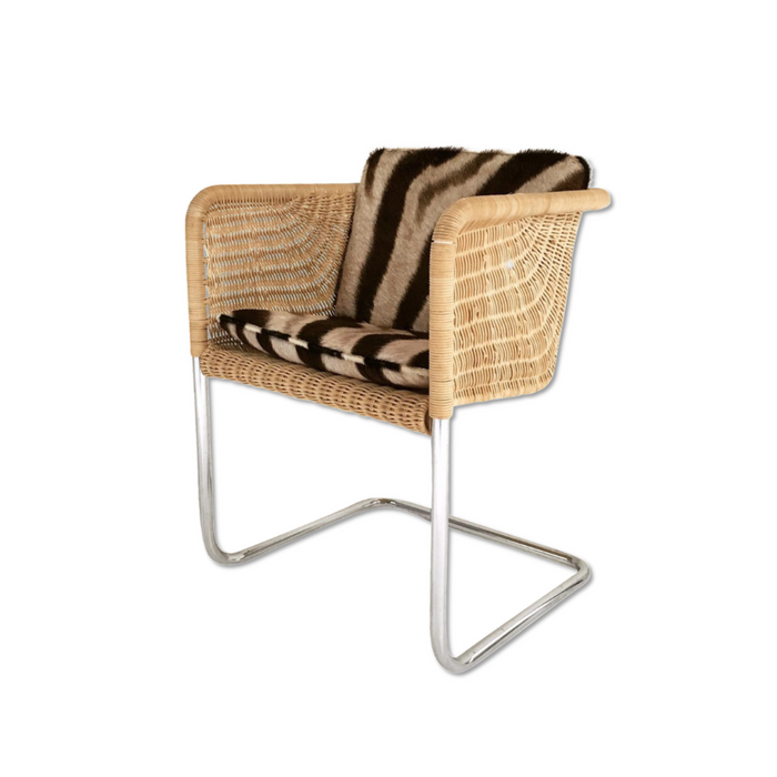 HARVEY PROBBER WICKER AND CHROME CHAIR WITH Custom ZEBRA CUSHIONs