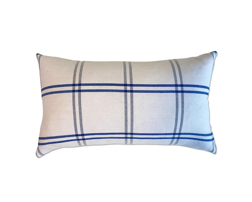 Schumacher Indigo Plaid Pillow, 21""