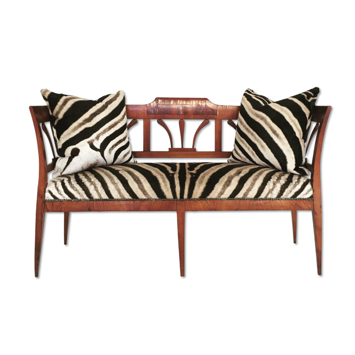 19th Century Fruitwood & Rosewood Settee Loveseat in Zebra Hide