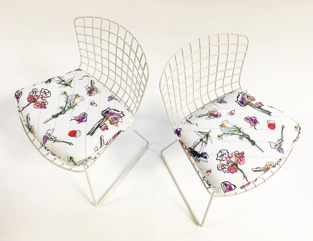 "Harry Bertoia for Knoll Child's Chairs with Custom Stevie Howell ""Flower Homicide"" Cushions - FORSYTH"