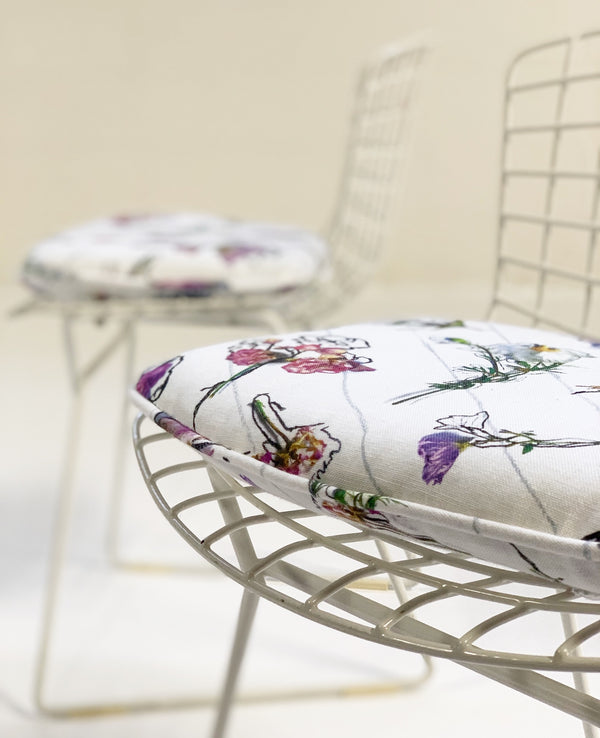 "Bertoia Child's Chairs with ""Flower Homicide"" Cushions, pair - FORSYTH"