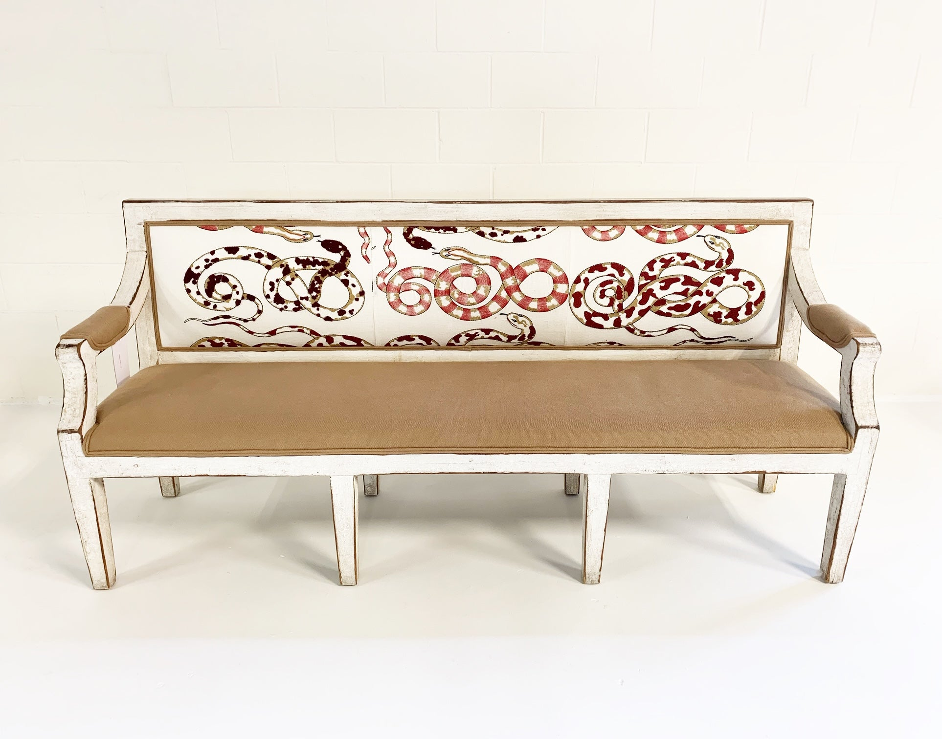 Swedish Neoclassical Style Settee in Pierre Frey and Loro Piana Linens - FORSYTH