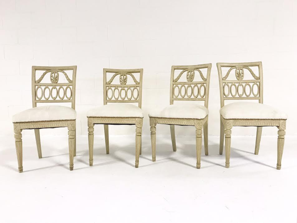 18th Century Swedish Painted Side Chairs Reupholstered in Ivory Brazilian Cowhide - Set of 4 - FORSYTH