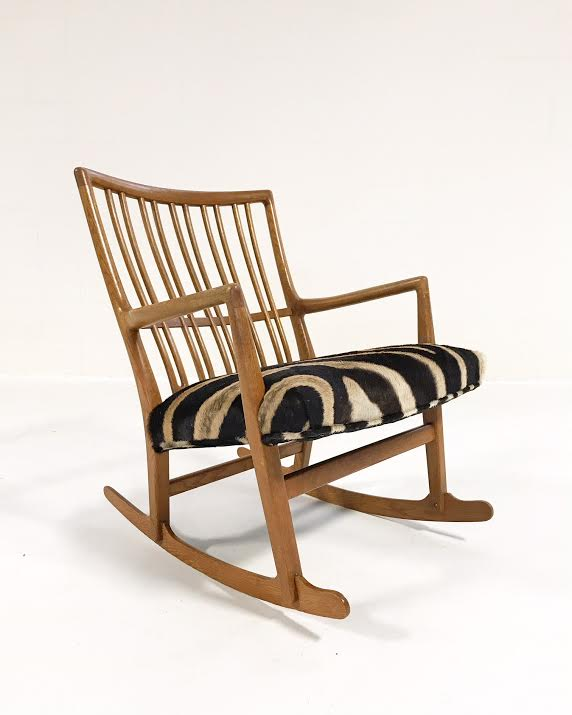 Vintage Hans Wegner for Mikael Laursen ML-33 Rocking Chair Reupholstered in Zebra Hide