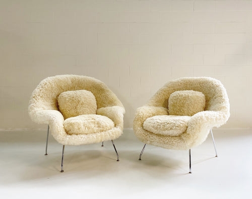 Bespoke Womb Chair and Ottoman in California Sheepskin