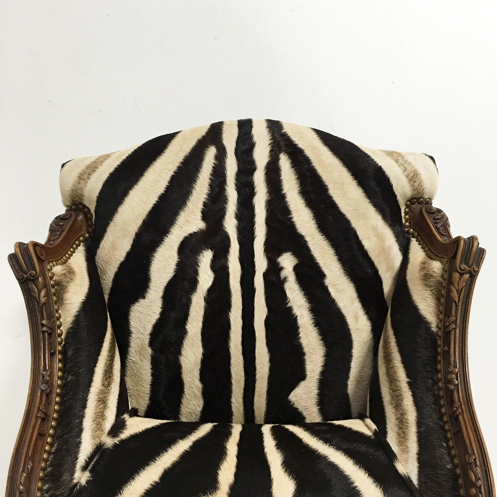 Small Vintage Carved Chair in Zebra Hide - FORSYTH