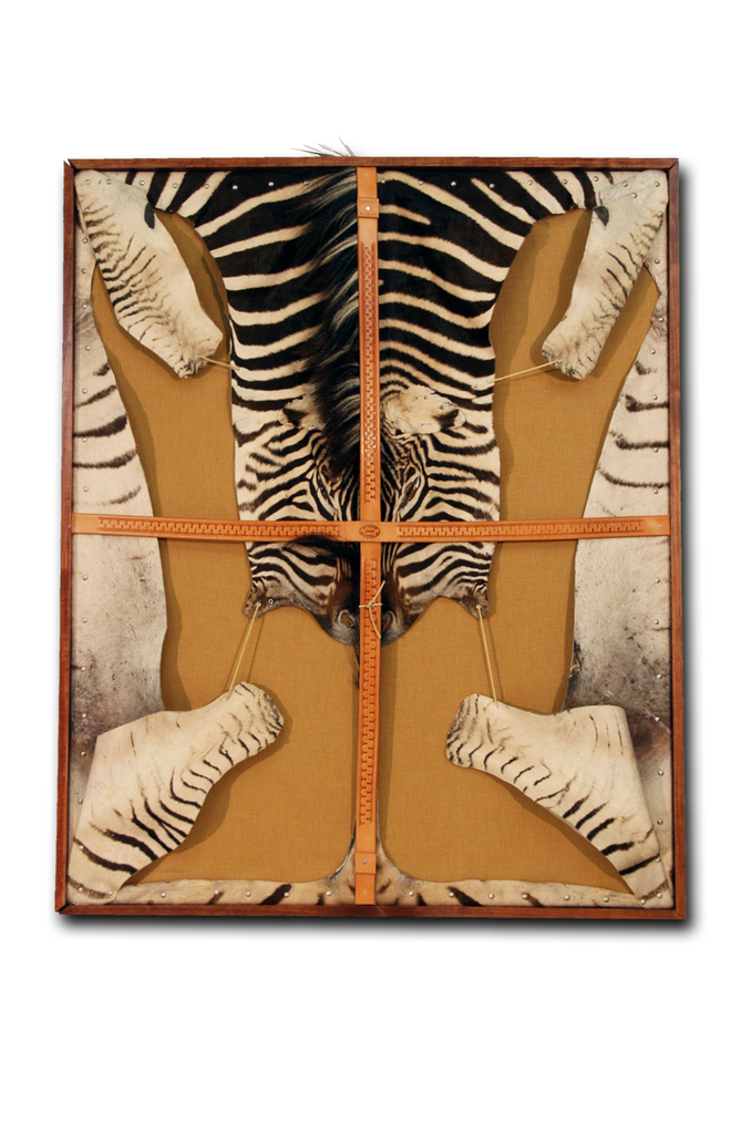 Sterling Silver Framed Zebra Hide Art Piece - FORSYTH