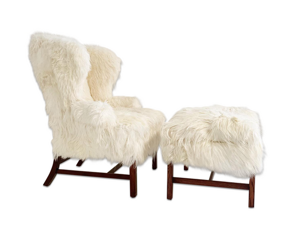 Large Wingback Chair and Ottoman in Angora Goatskin