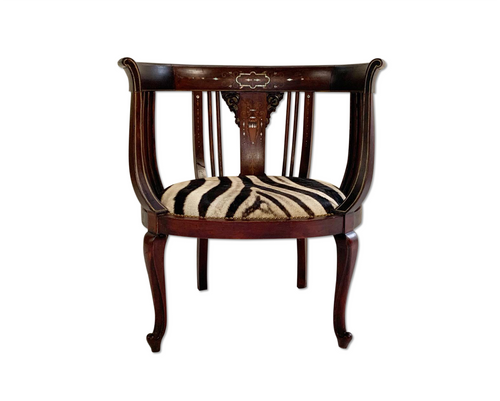 Antique Inlay Armchair in Zebra Hide - FORSYTH