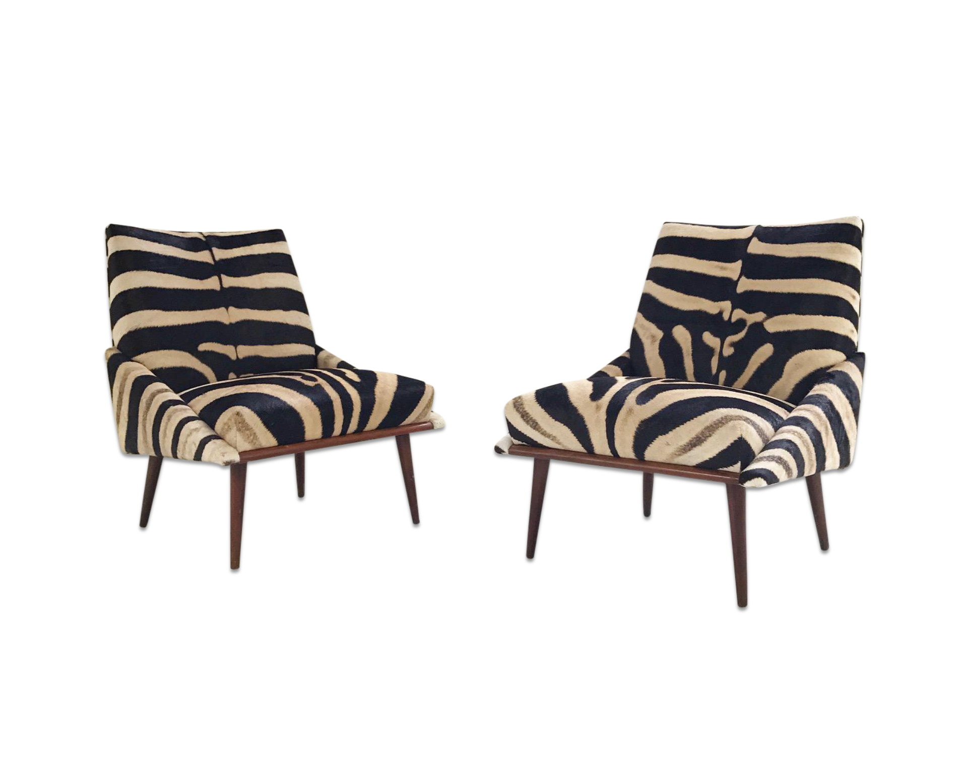 Lounge Chairs In Zebra Hide Pair Forsyth