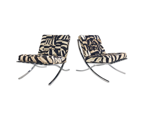 Barcelona Style Chairs in Zebra Hide, pair - FORSYTH