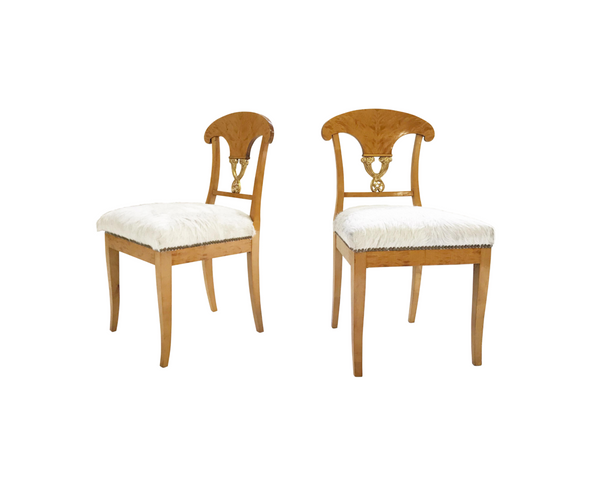 Biedermeier Chairs in Brazilian Cowhide, pair - FORSYTH