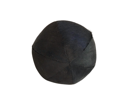 "Black Cowhide Ball Pillow 12"" - FORSYTH"