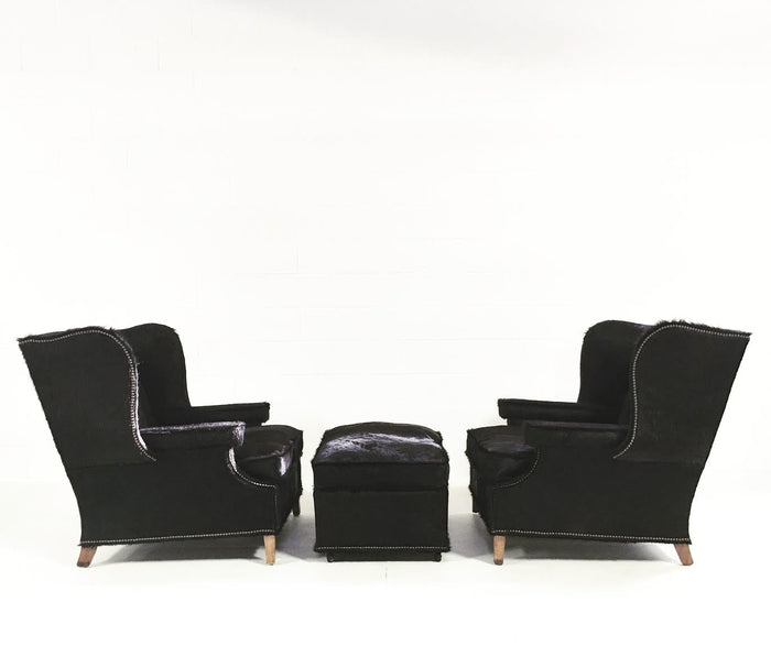 Vintage Wingback Chairs in Natural Black Brazilian Cowhide - FORSYTH