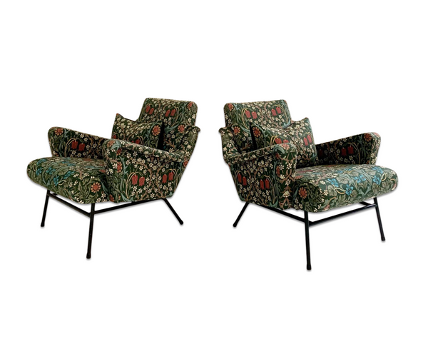 c. 1955 French Lounge Chairs in William Morris Blackthorn, pair