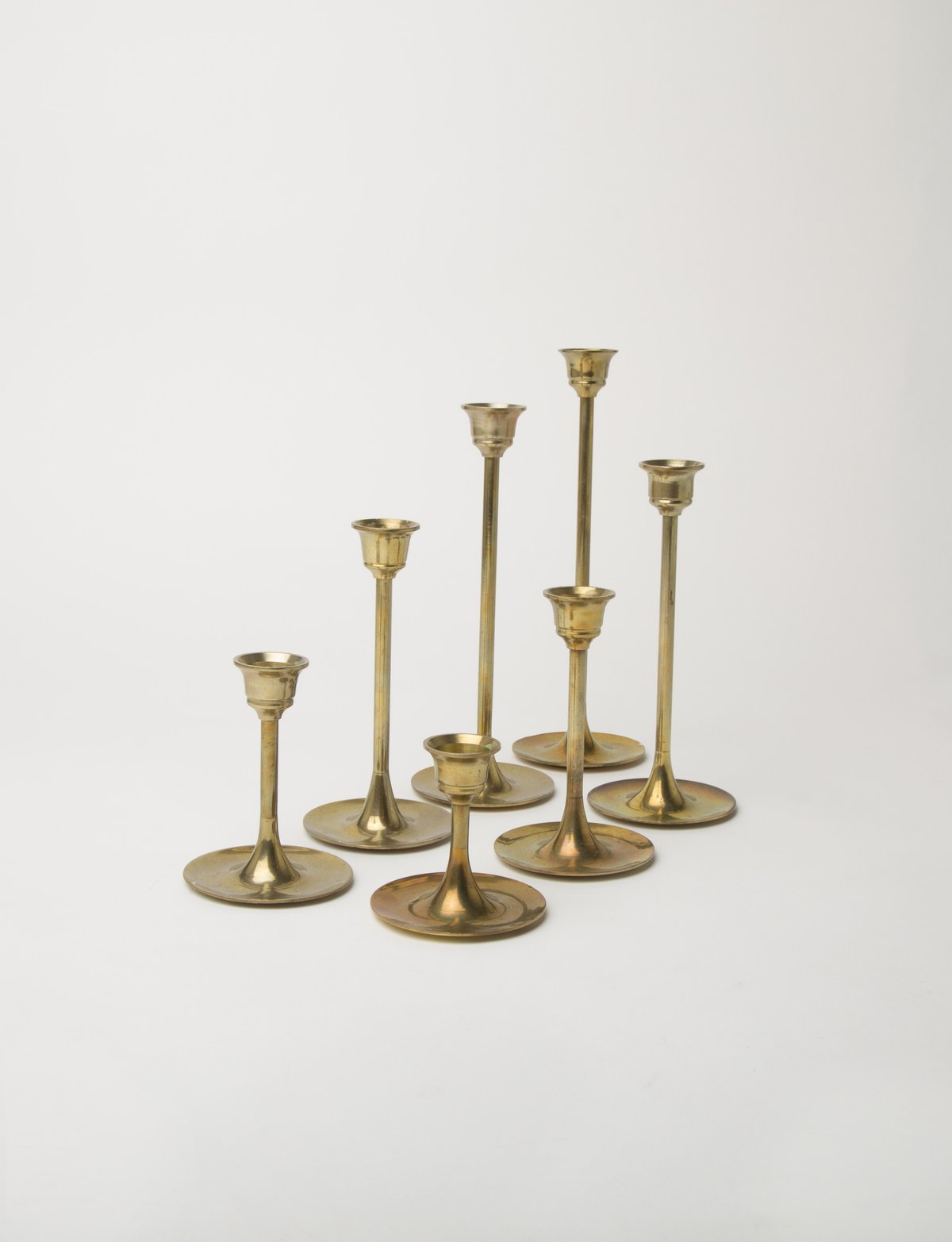 Brass Candlesticks of Various Sizes, Set of 7