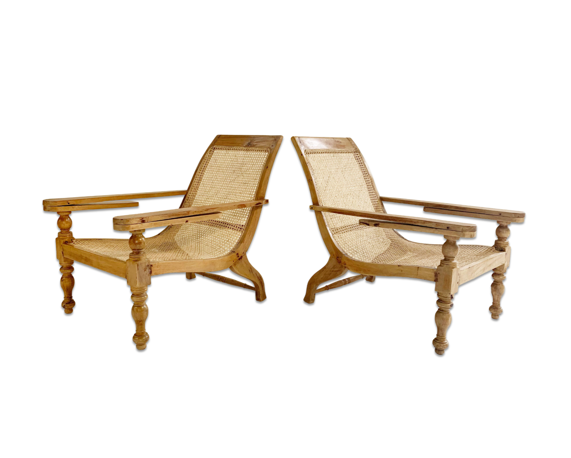British Colonial Plantation Chairs, pair