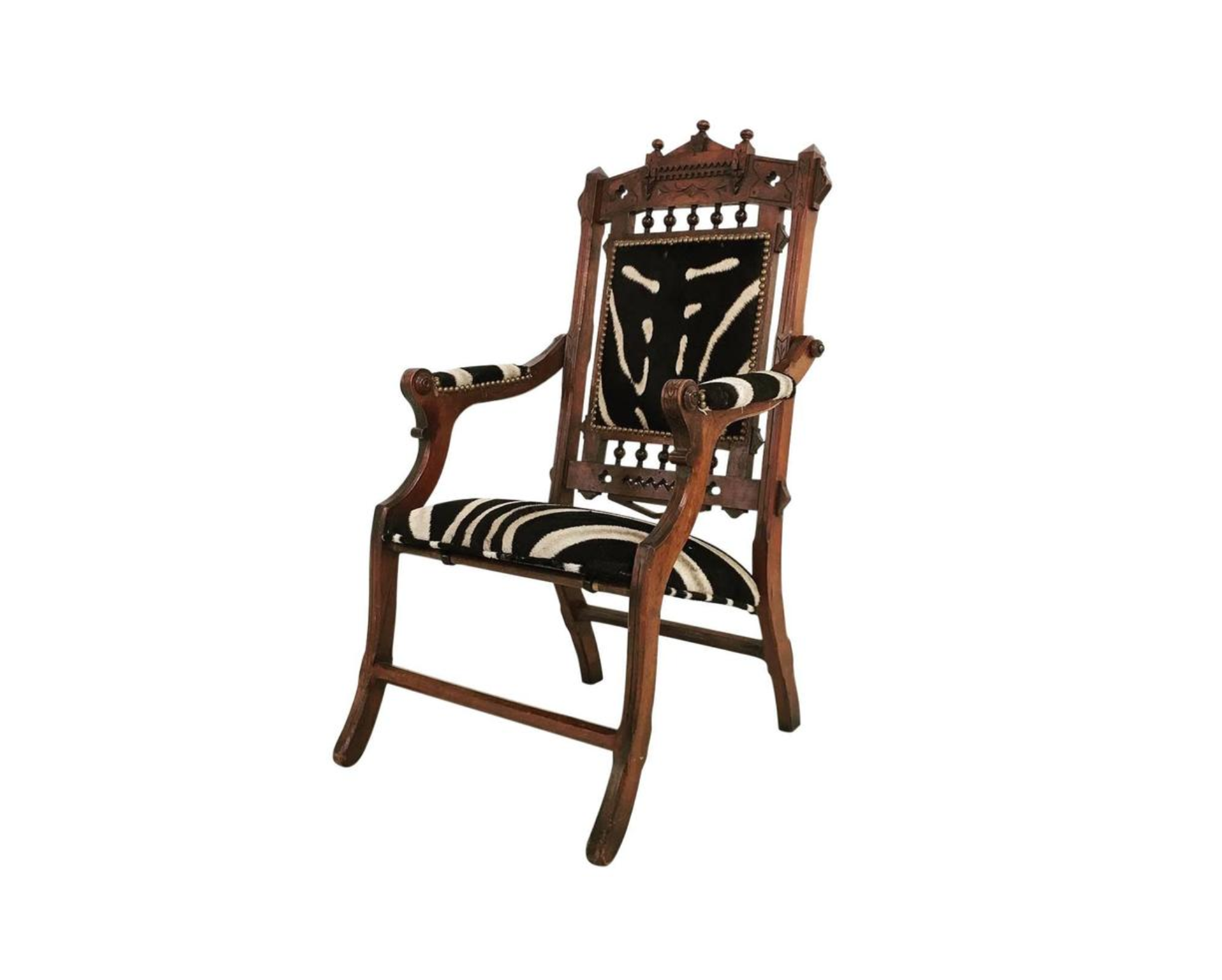 Victorian Walnut Campaign Chair in Zebra Hide - FORSYTH