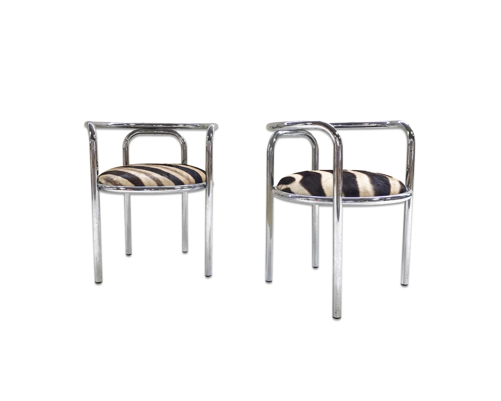 Danish Chrome Chairs in Zebra Hide, pair - FORSYTH