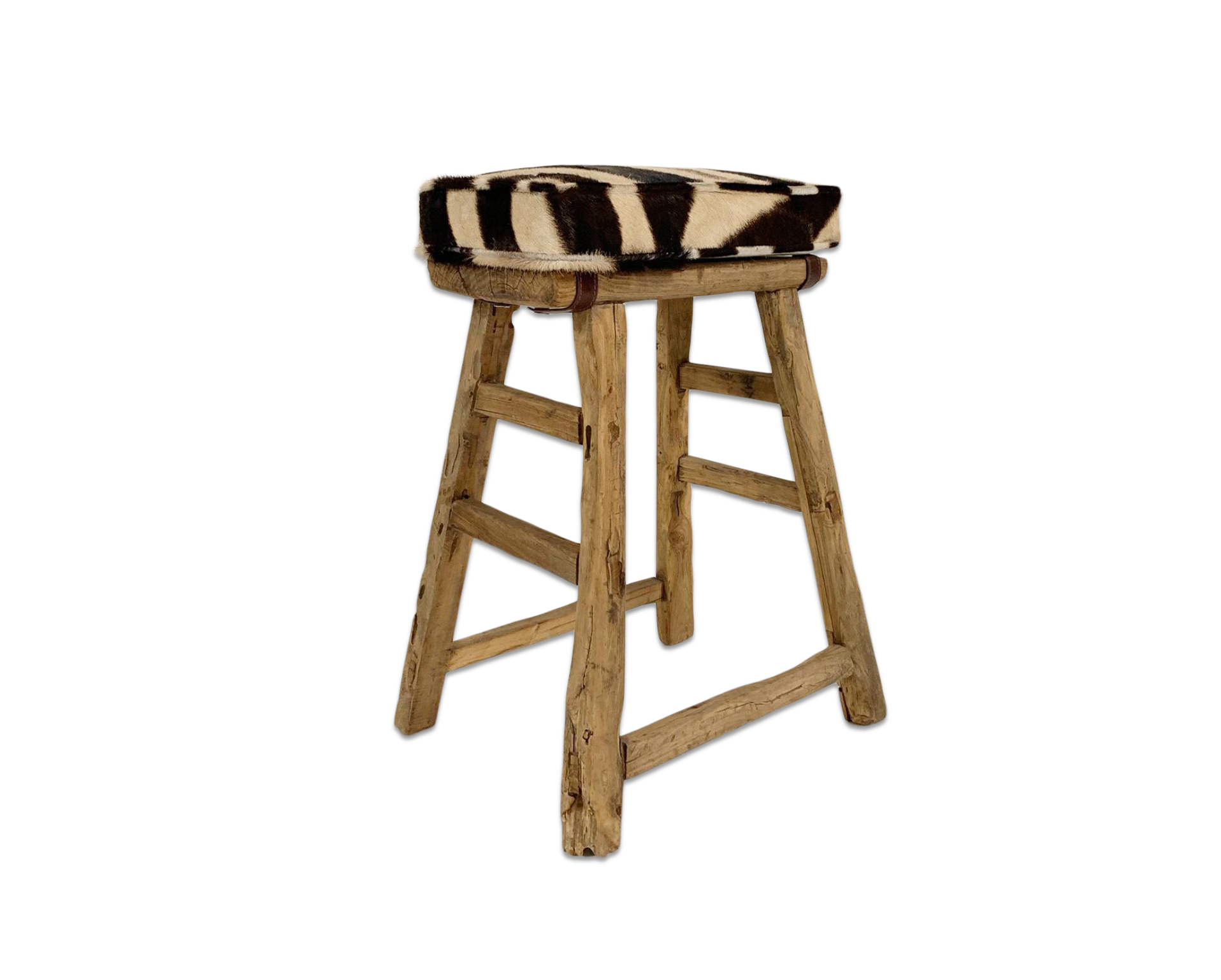 Chinese Elmwood Stool with Zebra Cushion - FORSYTH