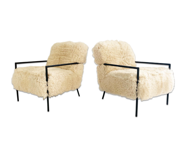 Iron Armchairs in California Sheepskin, pair