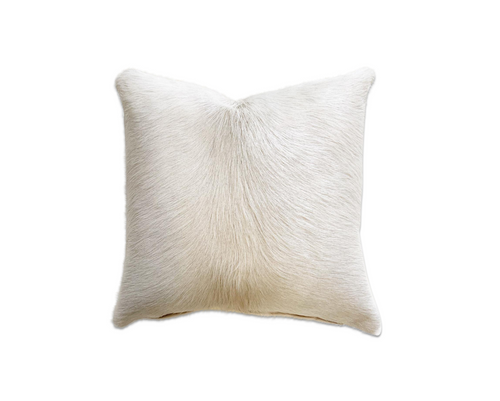 "Ivory Cowhide Pillow, 18"" - FORSYTH"