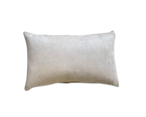 "Ivory Cowhide Pillow, 21x13"" - FORSYTH"