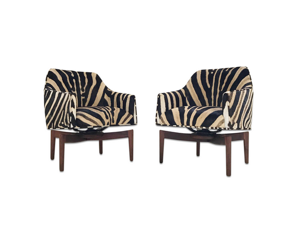 Walnut Swivel Chairs in Zebra Hide, pair - FORSYTH