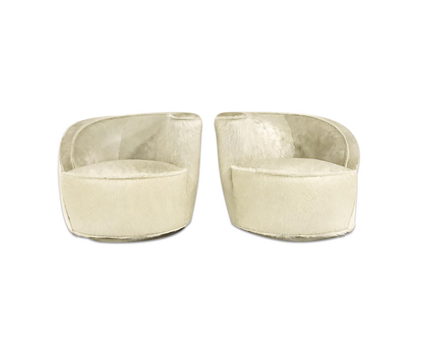 Nautilus Chairs in Brazilian Cowhide, pair - FORSYTH