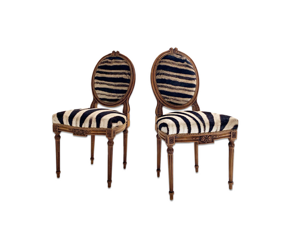 Louis XVI Style Side Chairs in Zebra Hide, pair - FORSYTH