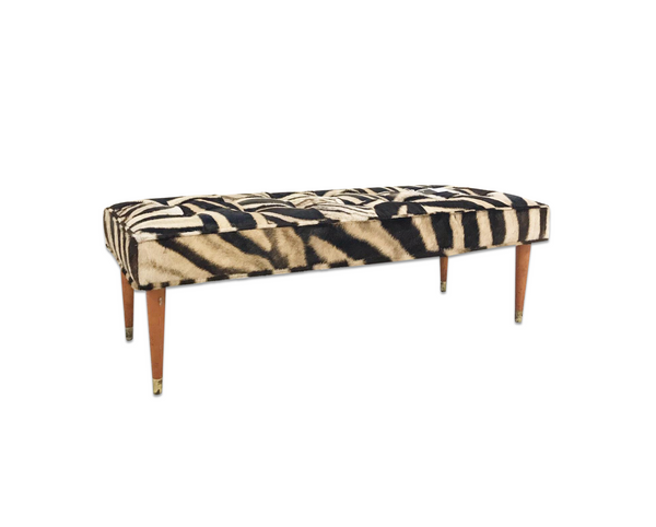 Bench in Patchwork Zebra Hide - FORSYTH