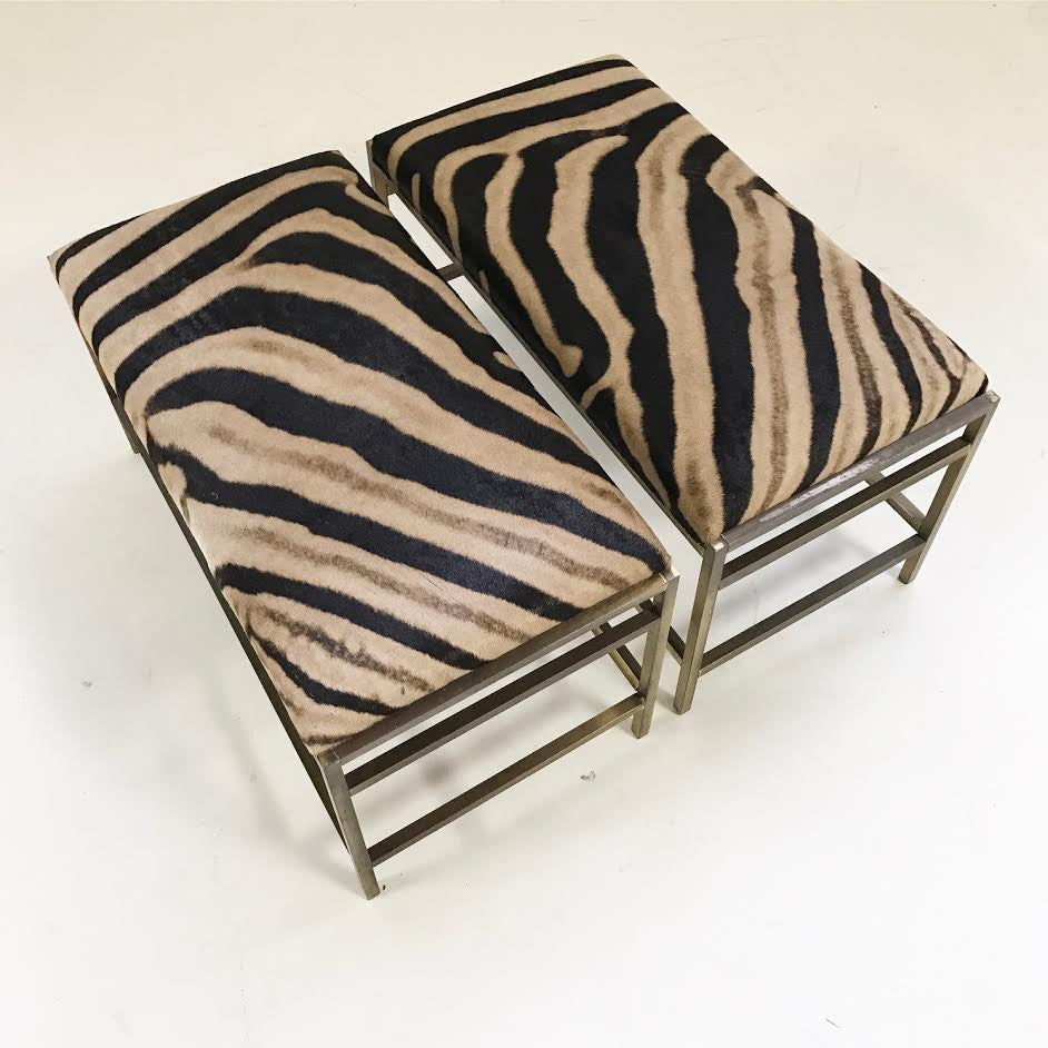 Pair of McCobb Style Brass Benches in Zebra Hide