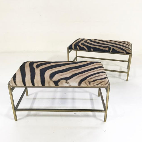 Brass Benches in Zebra Hide - FORSYTH