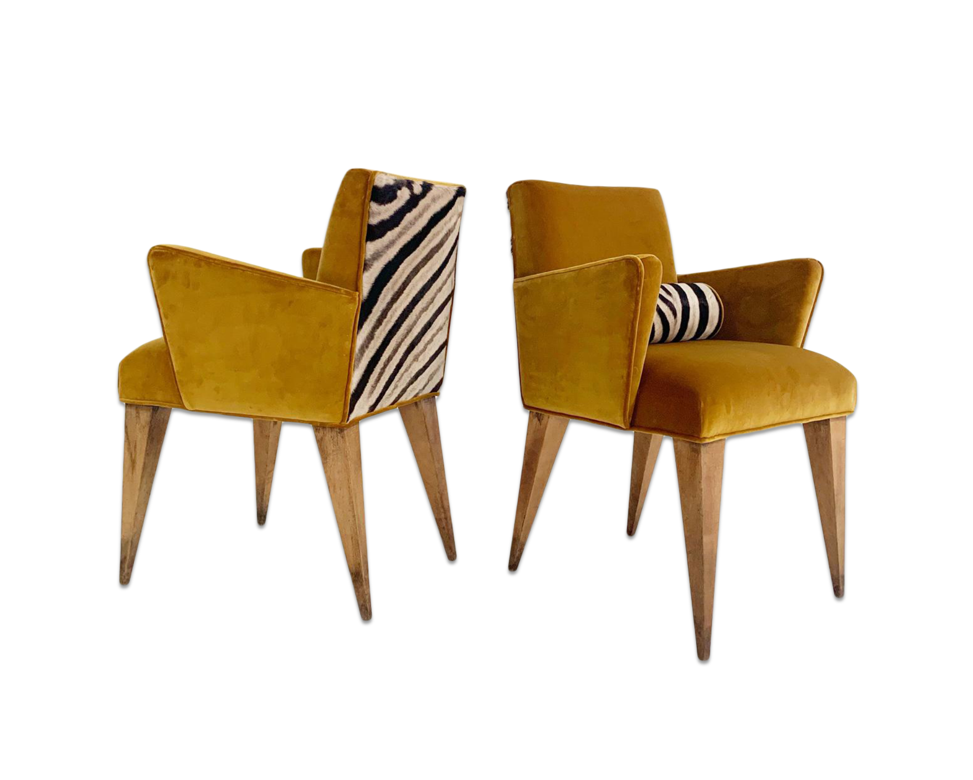 Mexican Modernist Chairs in Loro Piana Velvet and Zebra Hide, pair
