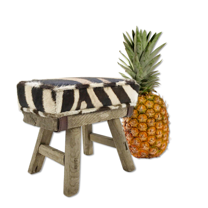 Mini Wooden Bench with Zebra Hide Cushion - FORSYTH