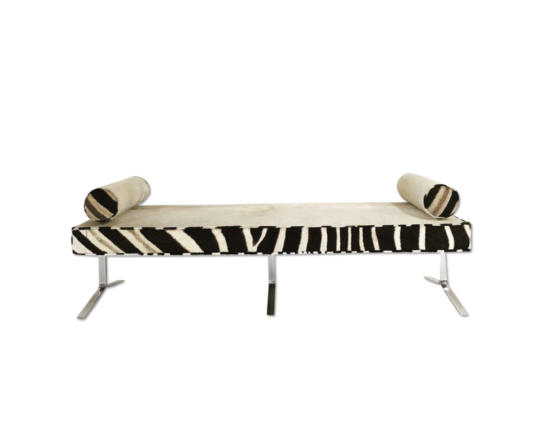 Pleasant Chrome Bench In Brazilian Cowhide And Zebra Hide Andrewgaddart Wooden Chair Designs For Living Room Andrewgaddartcom